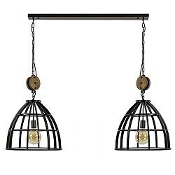 Zwart metalen eettafelhanglamp 2-lichts