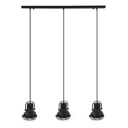 Industriele eettafelhanglamp 3-L zwart