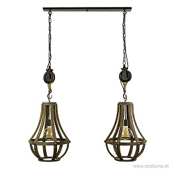 Houten eettafelhanglamp 2-lichts
