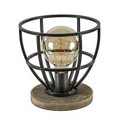Ruw metalen tafellamp Matrix korf met hout