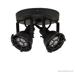Industriële plafondspot 2-lichts zwart