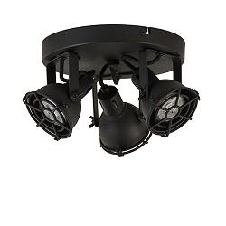 Ronde plafondspot Jesper zwart 3-lichts