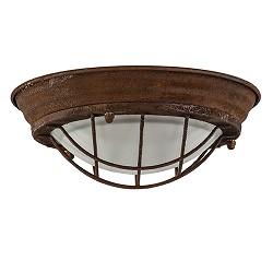 Industriële plafondlamp roest met glas