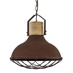 Grote hanglamp roest met houten klos