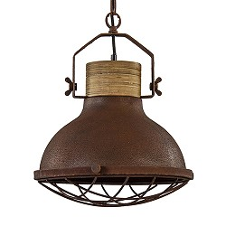 Kleine hanglamp Emma roest met grill en hout