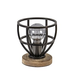 Kleine tafellamp zwart met hout