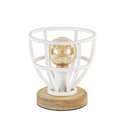 Landelijke tafellamp wit met hout klein