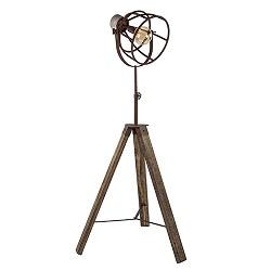 Robuuste vloerlamp roest met hout