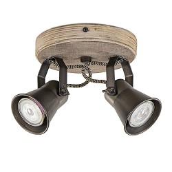 Industriële 2-lichts plafondspot metaal met houten bevestiging