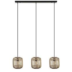 Houten 3-lichts eettafelhanglamp rotan