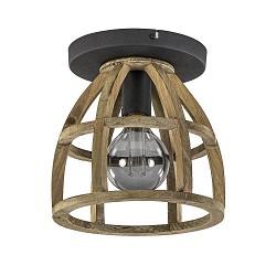 Stoere plafondlamp houten korf met zwart