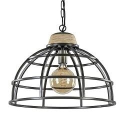 Landelijk industriële hanglamp black steel met hout