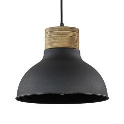 Mat zwart metalen hanglamp met houten klos