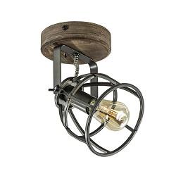 Landelijke plafond/wandlamp zwarte korf met hout