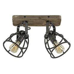 2-Lichts plafondlamp Matrix zwart metaal met hout