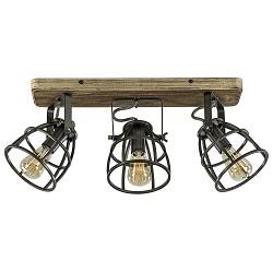 Industrieel landelijke plafondlamp Matrix 3-lichts zwart staal
