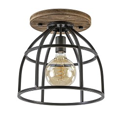 Industrieel landelijke plafondlamp XL black steel