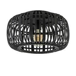 Landelijke plafondlamp bamboe mat zwart 40 cm