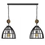 *Zwart metalen eettafelhanglamp 2-lichts