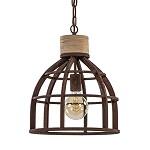 Hanglamp roest met houten klos landelijk