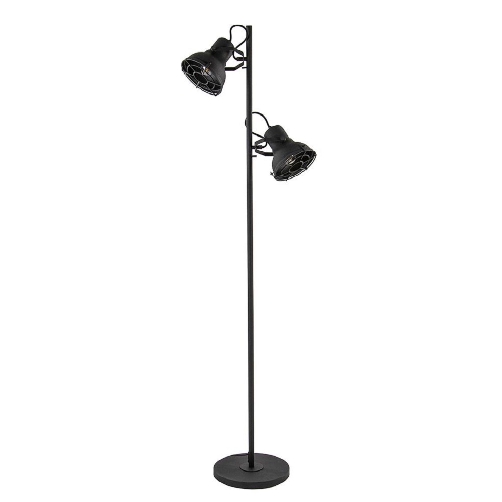 Kleine Zwarte Staande Lamp.Industriele Vloerlamp 2 Lichts Spot Zwart Straluma
