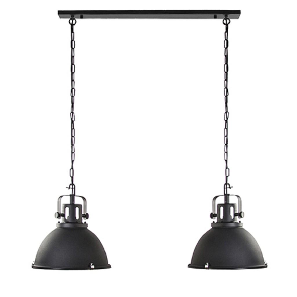 Industriële hanglamp 2-L mat zwart
