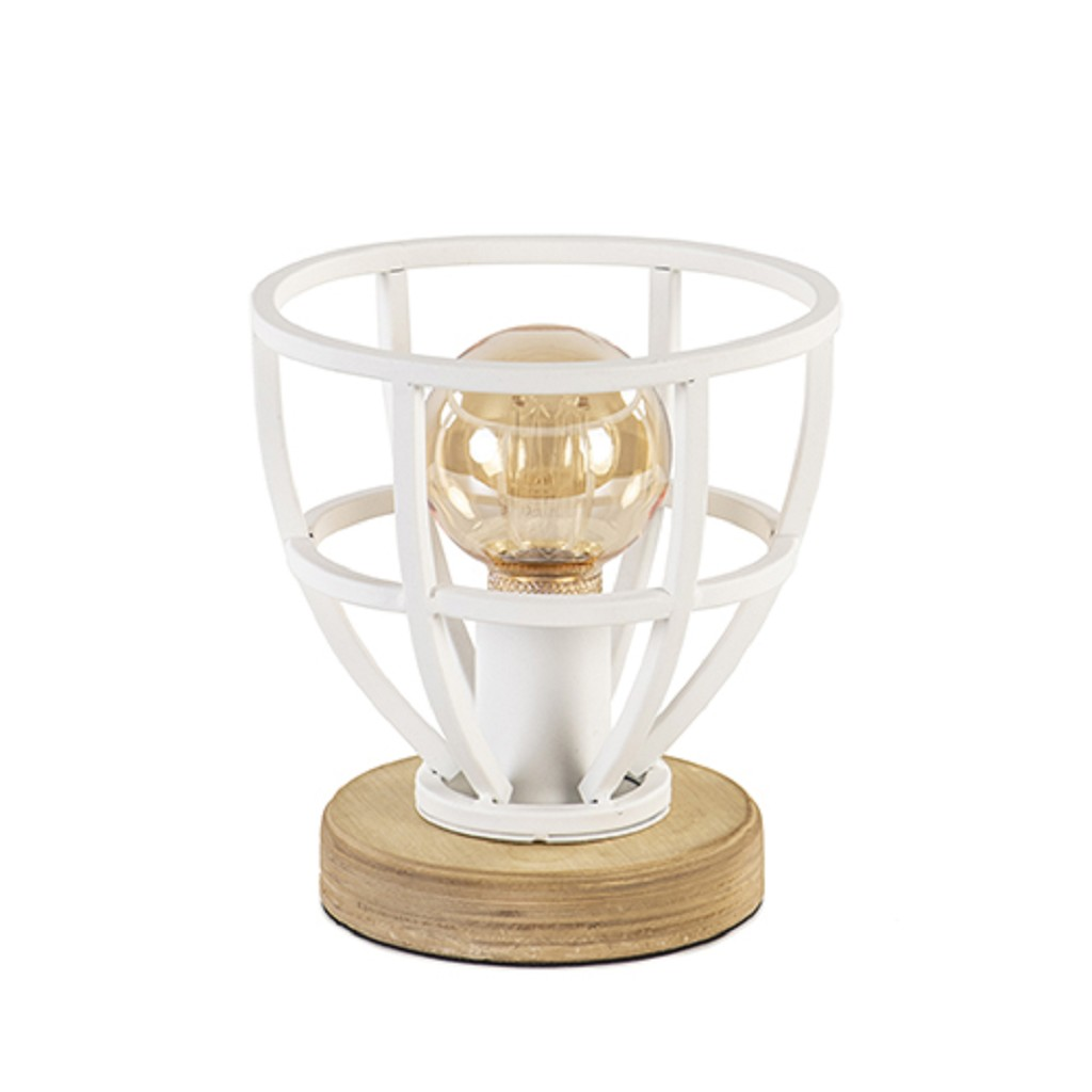 Landelijke tafellamp Matrix wit met hout klein
