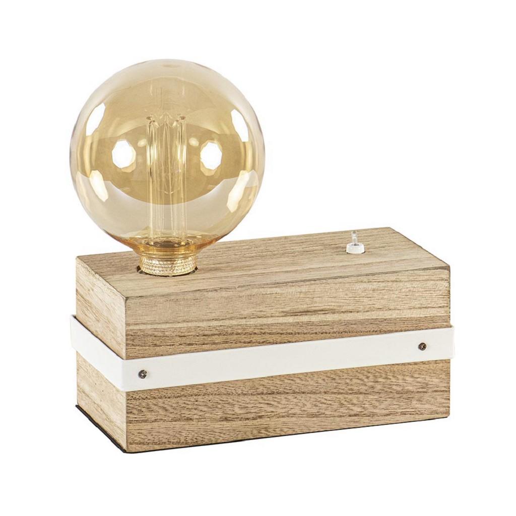 Tafellamp houten blok met schakelaar exclusief bron