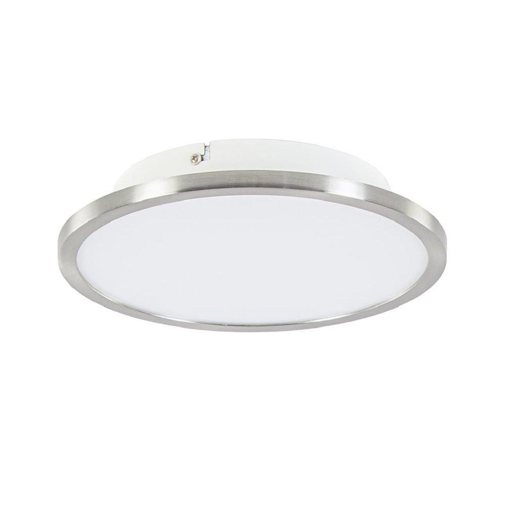 Strakke plafonnière nikkel met wit inclusief LED en easydim