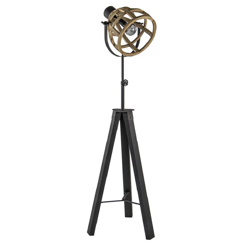 Driepoot vloerlamp Matrix met houten korf