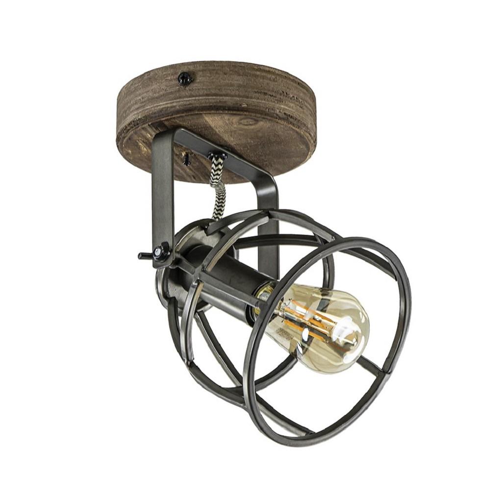 Plafond/wandlamp Matrix zwarte korf met hout
