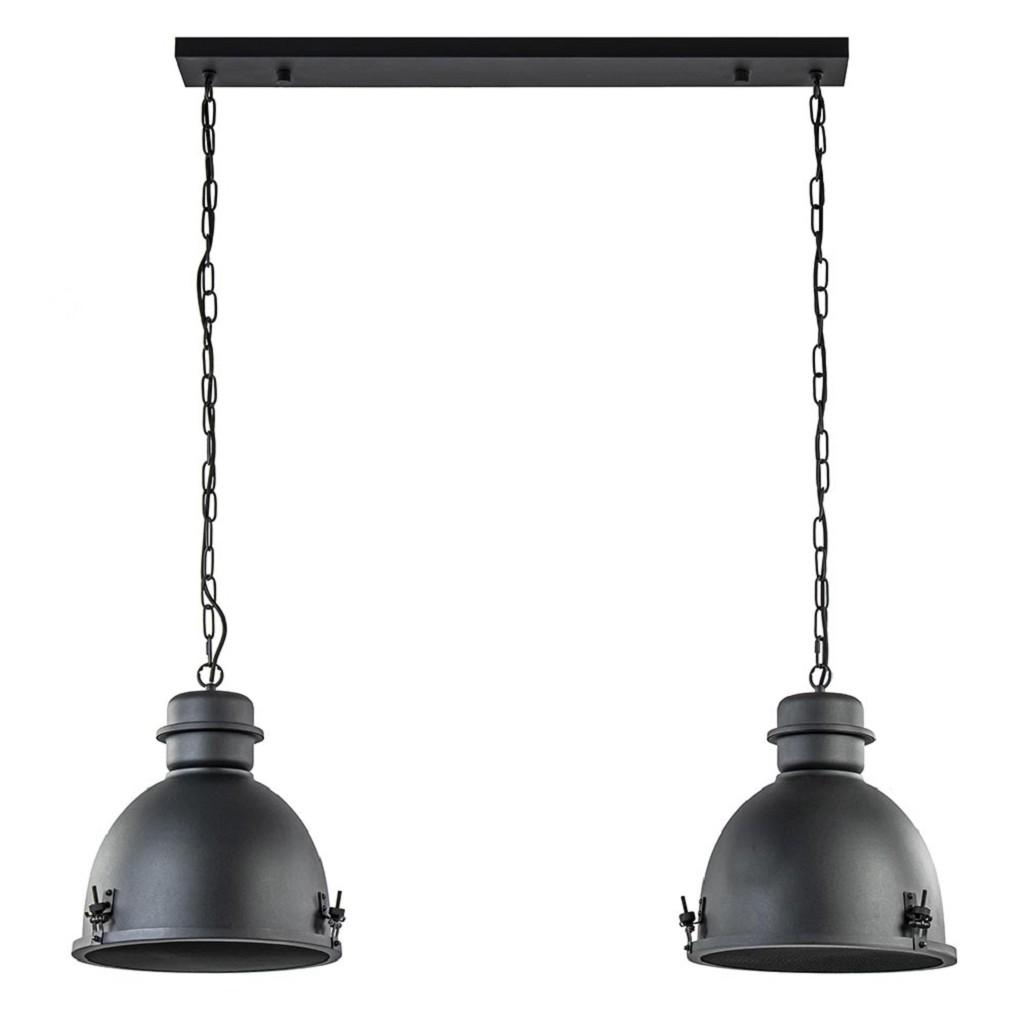 Industriële hanglamp 2-lichts met grill mat zwart