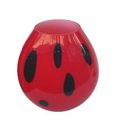 Tafellamp rood murano glas, stip zwart