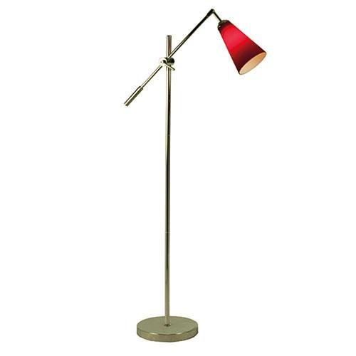 Vloerlamp modern rood chroom