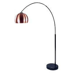 Vloer/booglamp zwart chr.koper