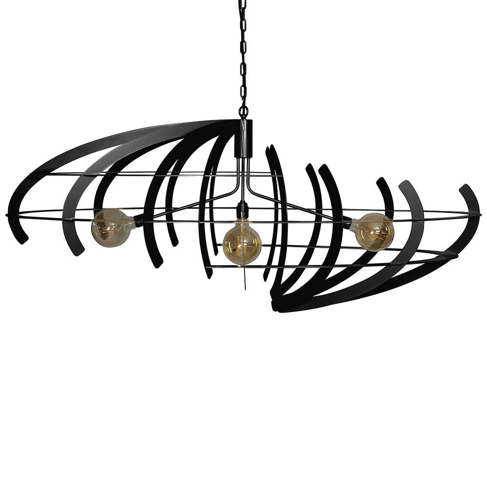 Grote zwarte design eettafelhanglamp ovaal