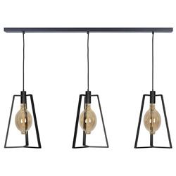 Design hanglamp 3-lichts zwart open frame