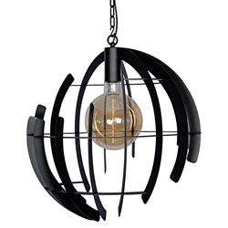 Grote ronde hanglamp zwart 60 cm