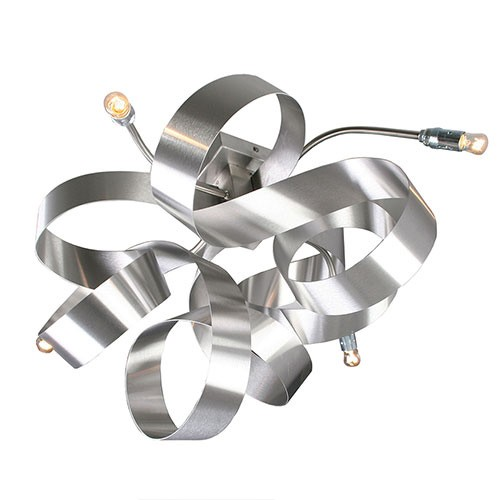Plafondlamp-plafonnièr krul design RVS