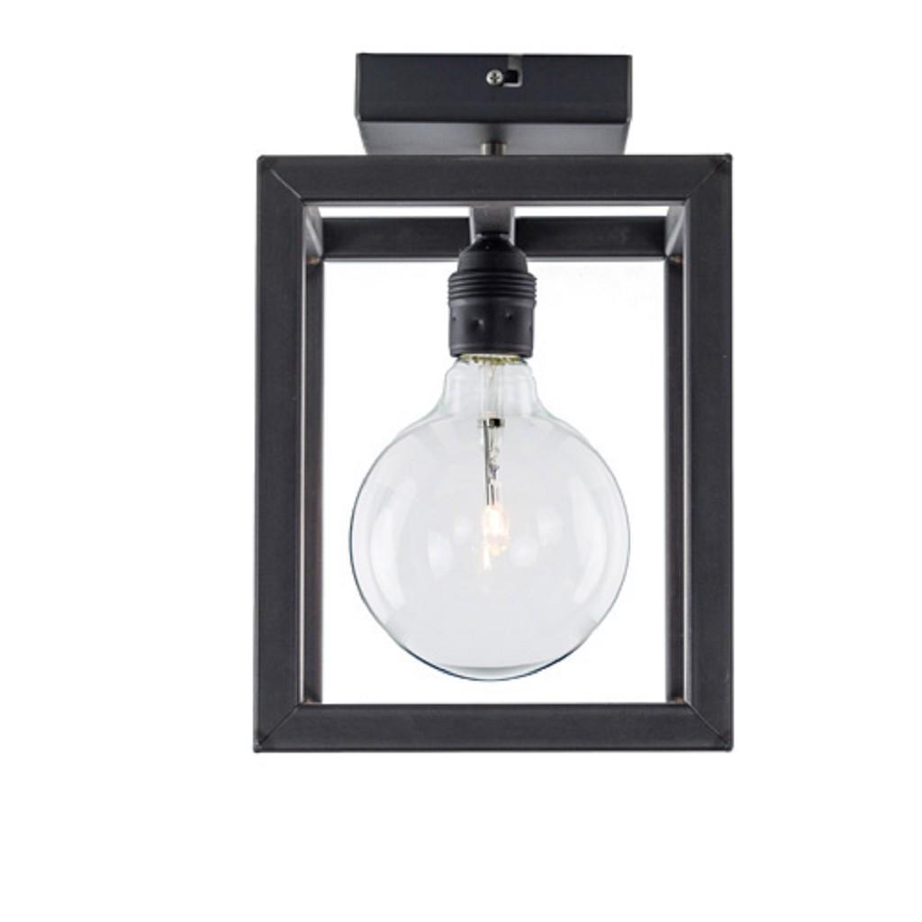 Plafondlamp frame kubus zwartstaal