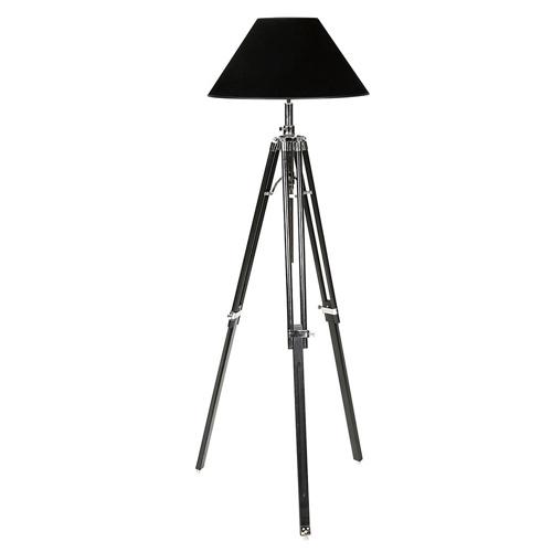 Zwarte driepoot vloerlamp verstelbaar