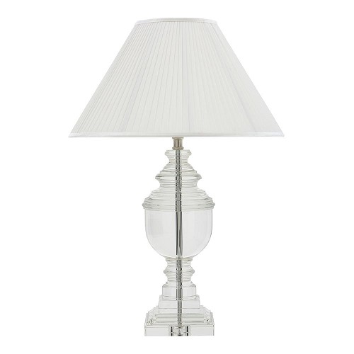 Tafellamp plise lampenkap wit