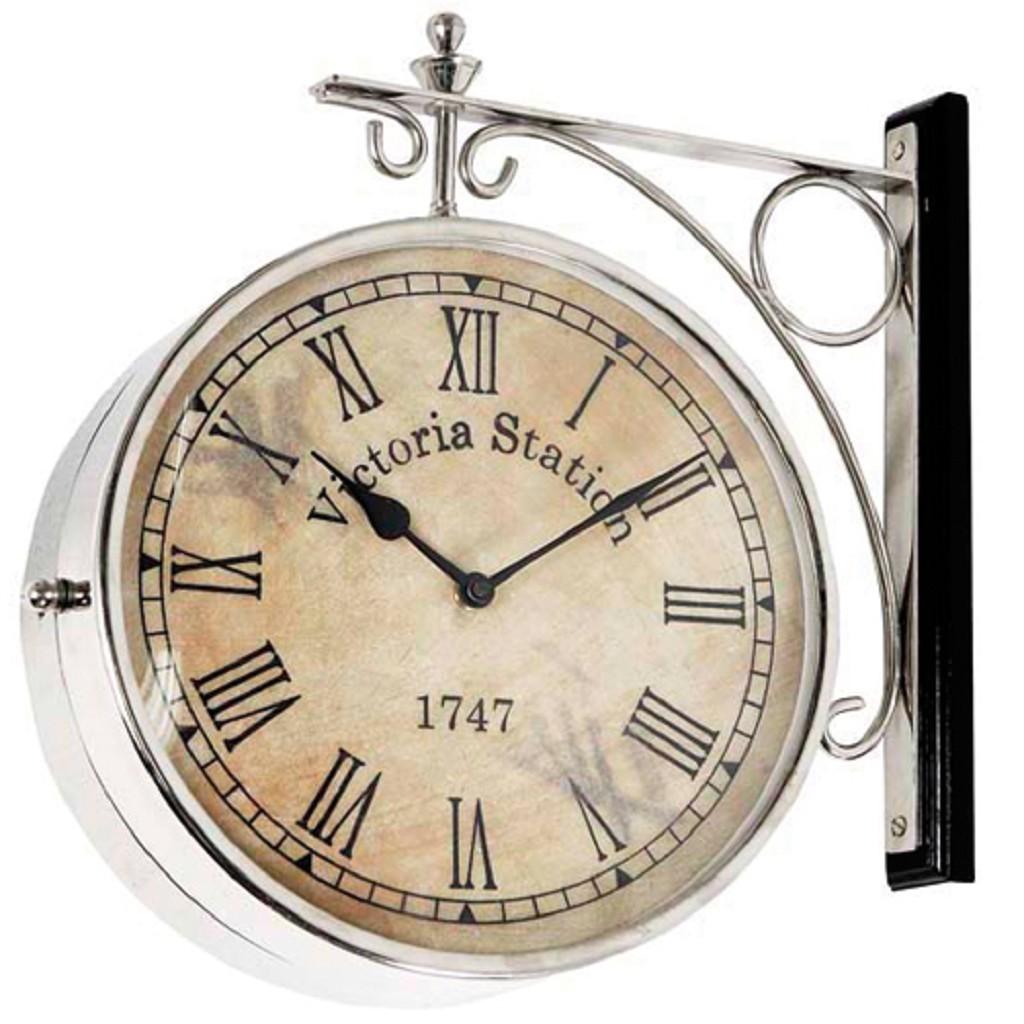 Uithangklok antiek met zilver 28 cm