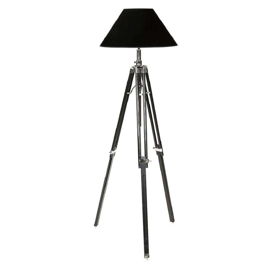 **Zwarte driepoot vloerlamp verstelbaar