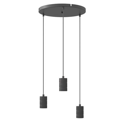Calex 3-lichts retro pendels rond 40cm zwart