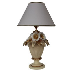Klassieke keramieke vaaslamp creme-goud