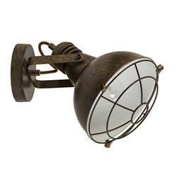 Metalen wandlamp industrieel roest-bru