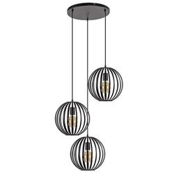 Hanglamp rond 3-lichts bollen zwart