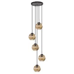 5-Lichts vide hanglamp met amber glas
