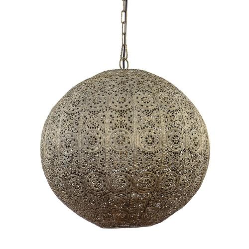 Ronde hanglamp antiek messing Oosters